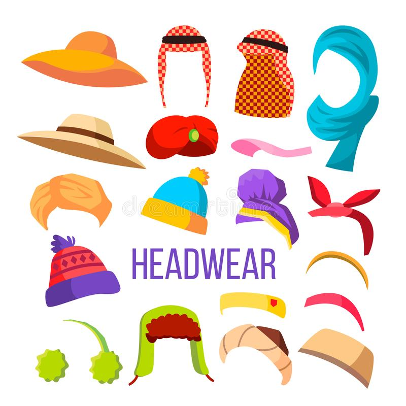 Vecteur multiculturel et de saison de Headwear de chapeau d'ensemble illustration stock