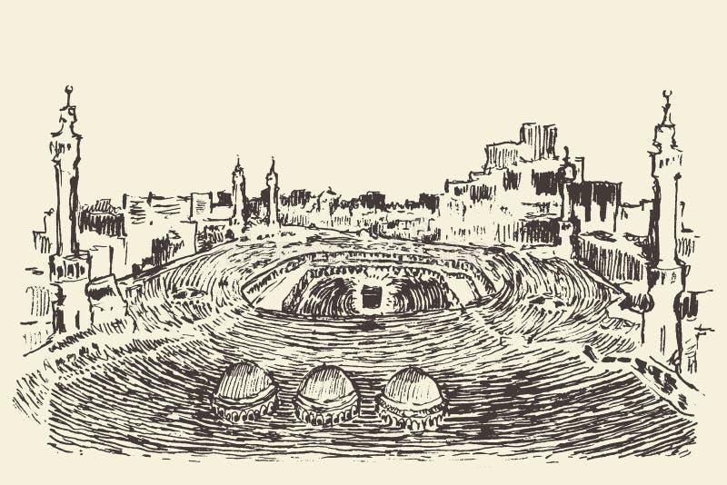 Vecteur musulman saint de Kaaba Mecca Saudi Arabia dessiné illustration libre de droits