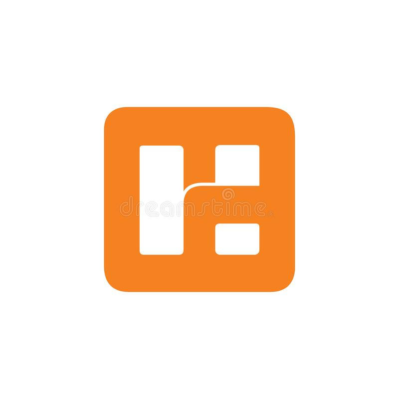 Vecteur négatif abstrait de logo de l'espace de la lettre h illustration de vecteur