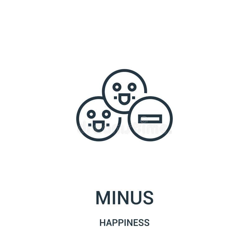 vecteur négatif d'icône de collection de bonheur Ligne mince sans l'illustration de vecteur d'icône d'ensemble Symbole linéaire p illustration libre de droits