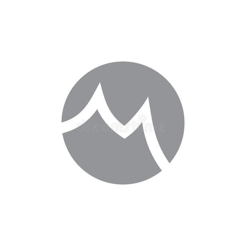 Vecteur négatif de logo de l'espace de cercle de la lettre m illustration libre de droits