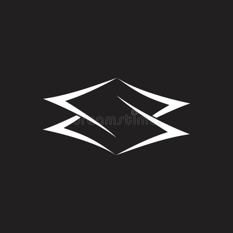 Vecteur négatif de logo de l'espace de la lettre s illustration stock