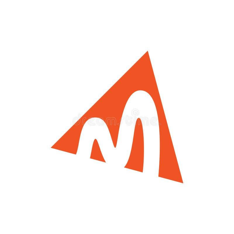 Vecteur négatif de logo de l'espace de triangle de la lettre m illustration stock