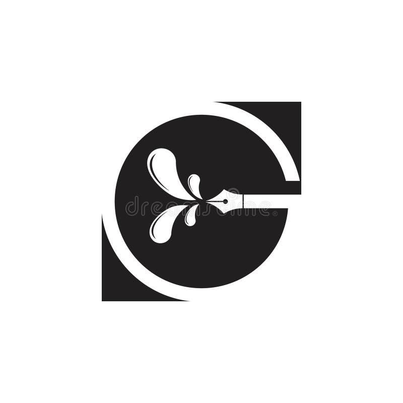 Vecteur négatif de logo de stylo d'éducation de l'espace de la lettre g illustration de vecteur