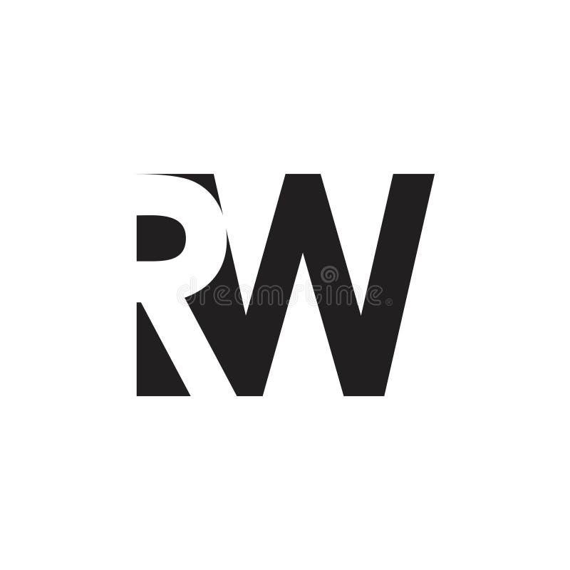 Vecteur négatif simple de logo de l'espace du RW de lettre illustration stock