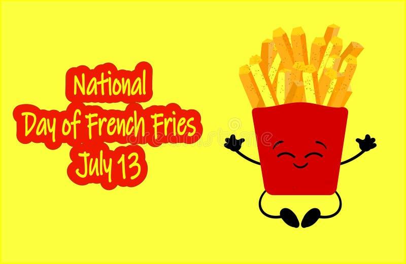 Vecteur national de jour de pommes frites Seau avec des icônes de pommes frites Nourriture américaine de vacances Jour national d illustration de vecteur
