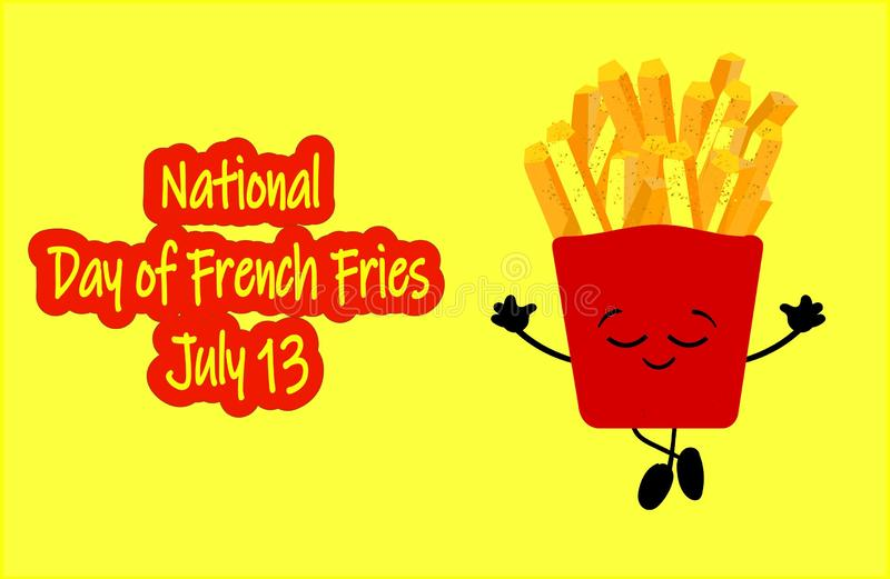 Vecteur national de jour de pommes frites Seau avec des icônes de pommes frites Nourriture américaine de vacances Jour national d illustration libre de droits
