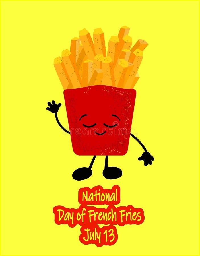 Vecteur national de jour de pommes frites Seau avec des icônes de pommes frites Nourriture américaine de vacances Jour national d illustration stock
