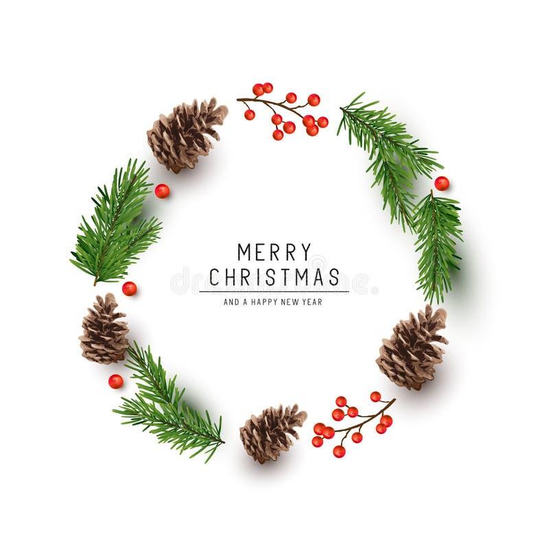 Vecteur naturel rond de cadre de Noël illustration stock