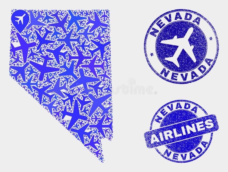 Vecteur Nevada State Map de collage de lignes aériennes et joints grunges illustration de vecteur