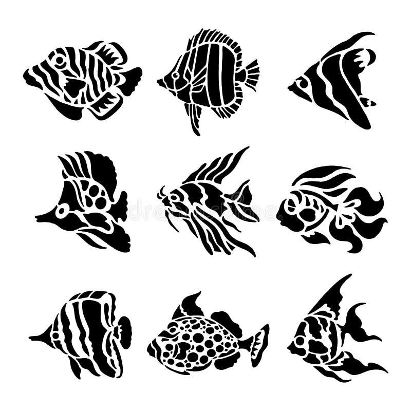 Vecteur noir aquatique animal d'illustration de silhouette de poissons illustration de vecteur