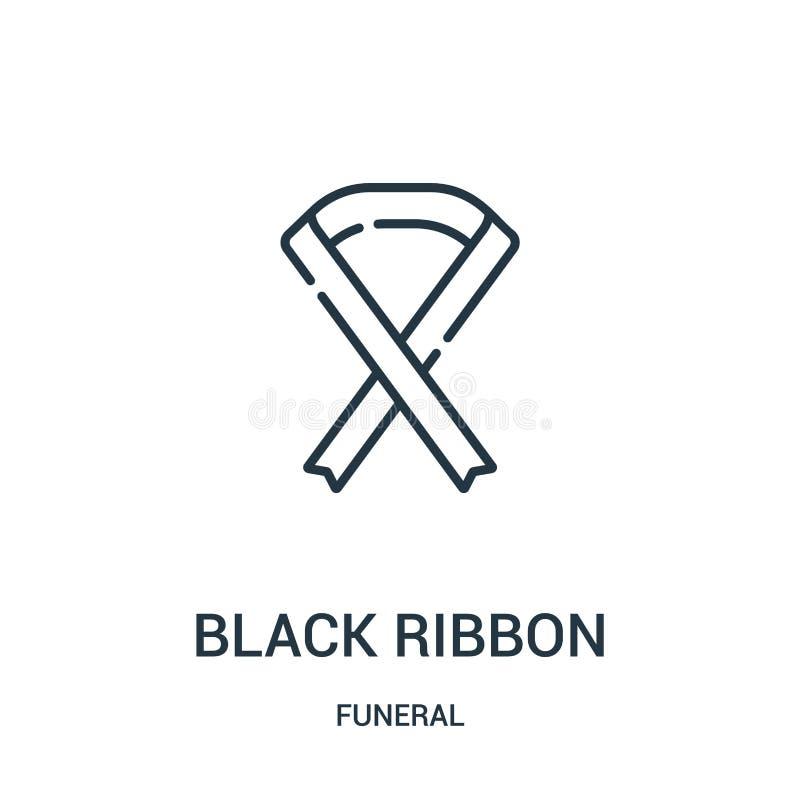 vecteur noir d'icône de ruban de la collection funèbre Ligne mince illustration de vecteur d'icône d'ensemble de ruban de noir Sy illustration de vecteur