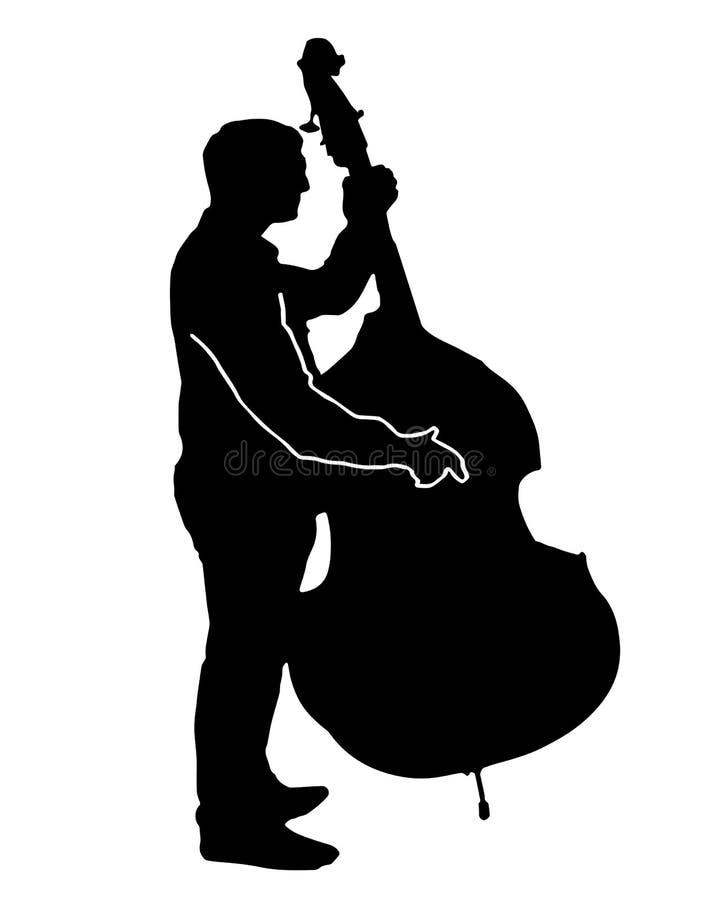 Vecteur noir de silhouette d'un musicien jouant un grand violoncelle illustration libre de droits