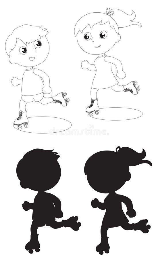 Vecteur noir et blanc de patinage de deux enfants illustration de vecteur