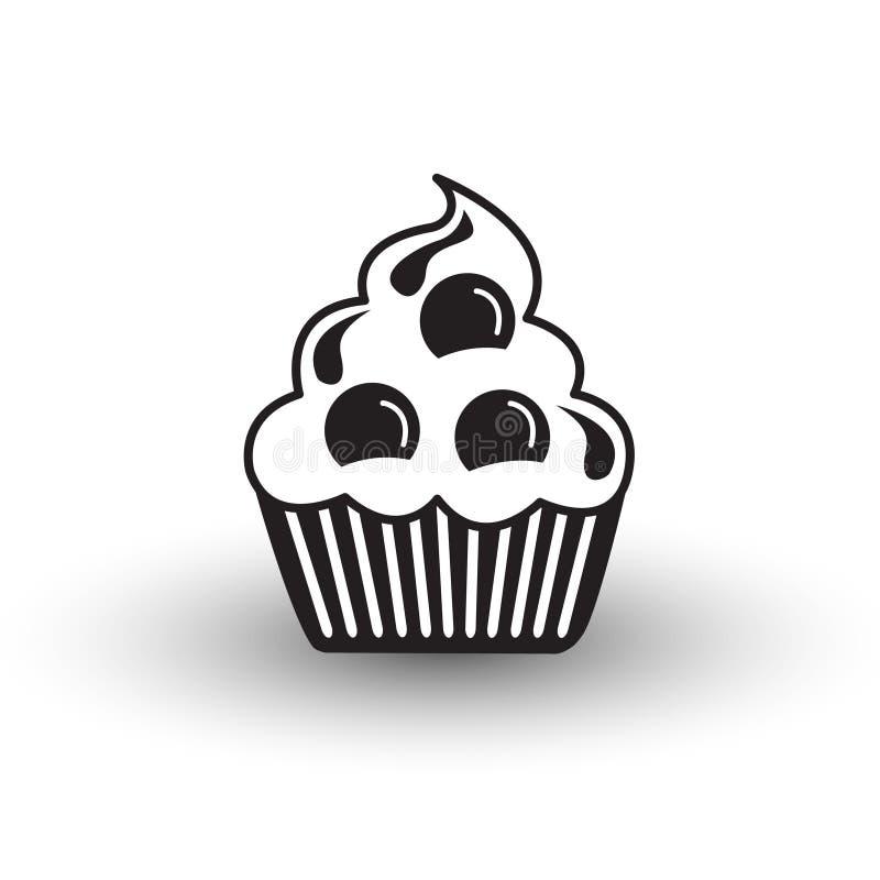 Vecteur noir et blanc de tasse de gâteau d'icône mignonne de dessert avec l'ombre, s illustration stock