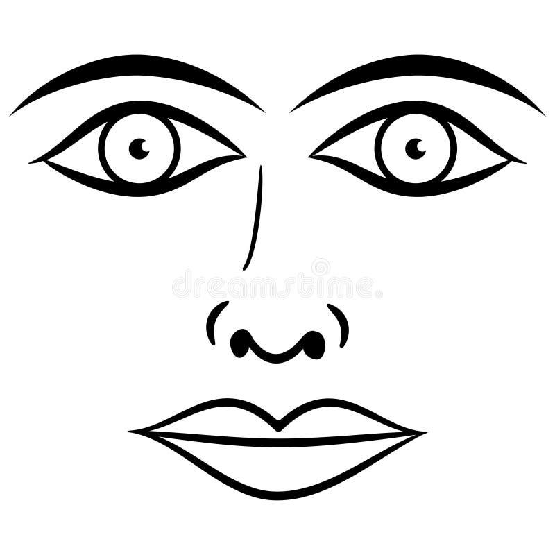 Vecteur noir et blanc de visage. illustration libre de droits
