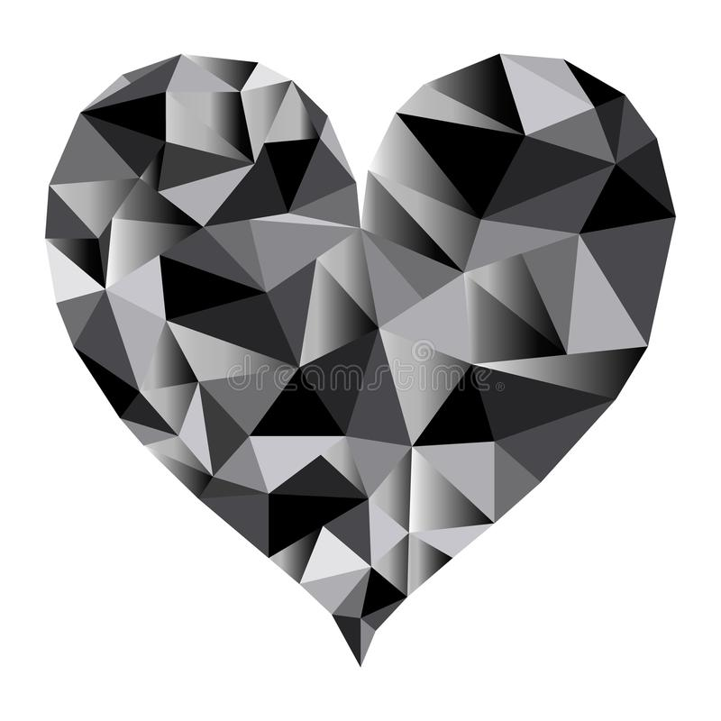 Vecteur noir polygonal de coeur illustration stock