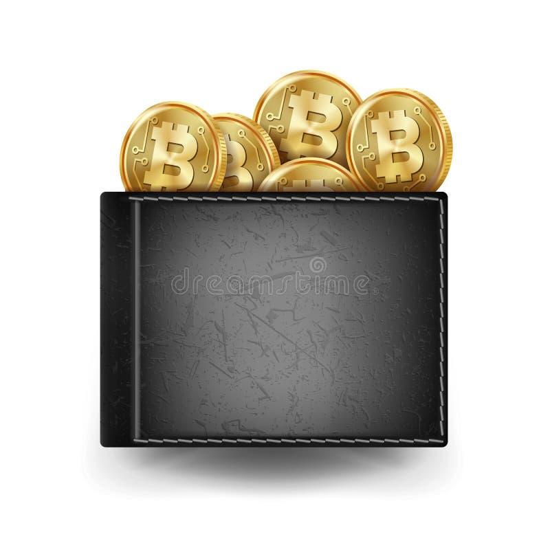 Vecteur noir réaliste de portefeuille de Bitcoin Concept d'investissement Argent futuriste de Digital Argent Vue supérieure Crayo illustration stock