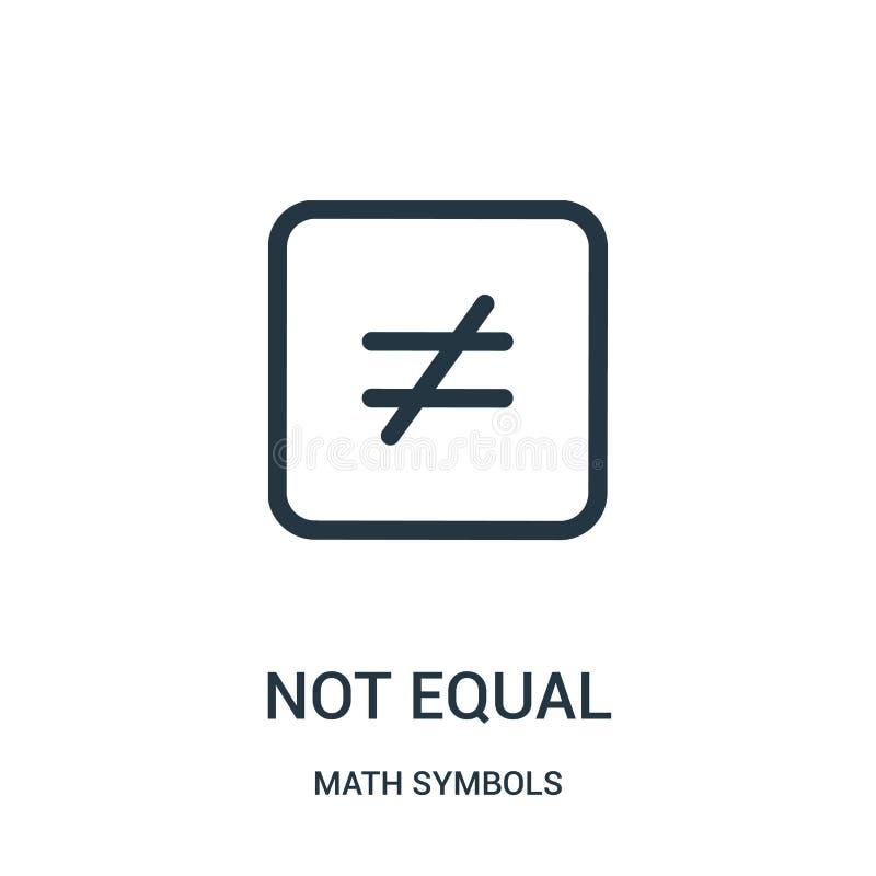 vecteur non égal d'icône de collection de symboles de maths Ligne mince illustration non égale de vecteur d'icône d'ensemble illustration de vecteur