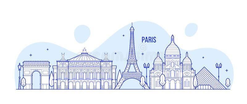 Vecteur notable de bâtiments de ville de Frances d'horizon de Paris illustration stock