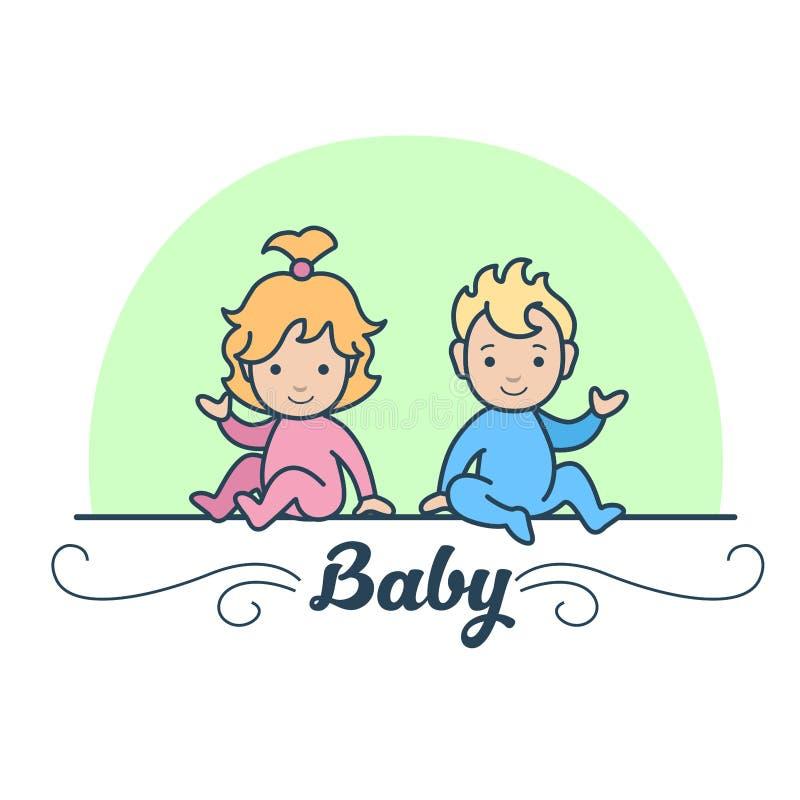 Vecteur nouveau-né plat linéaire de bébé de jumeaux de garçon et de fille illustration libre de droits