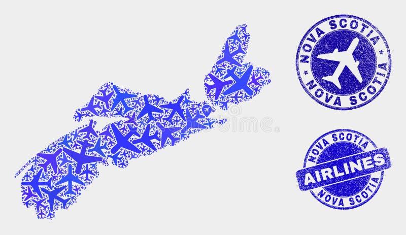 Vecteur Nova Scotia Province Map de mosaïque d'aviation et timbres grunges illustration de vecteur
