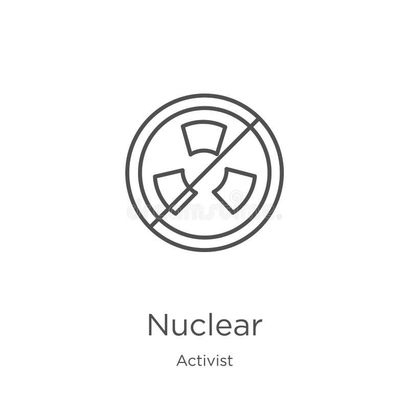 vecteur nucléaire d'icône de collection d'activiste Ligne mince illustration nucl?aire de vecteur d'ic?ne d'ensemble Contour, lig illustration de vecteur