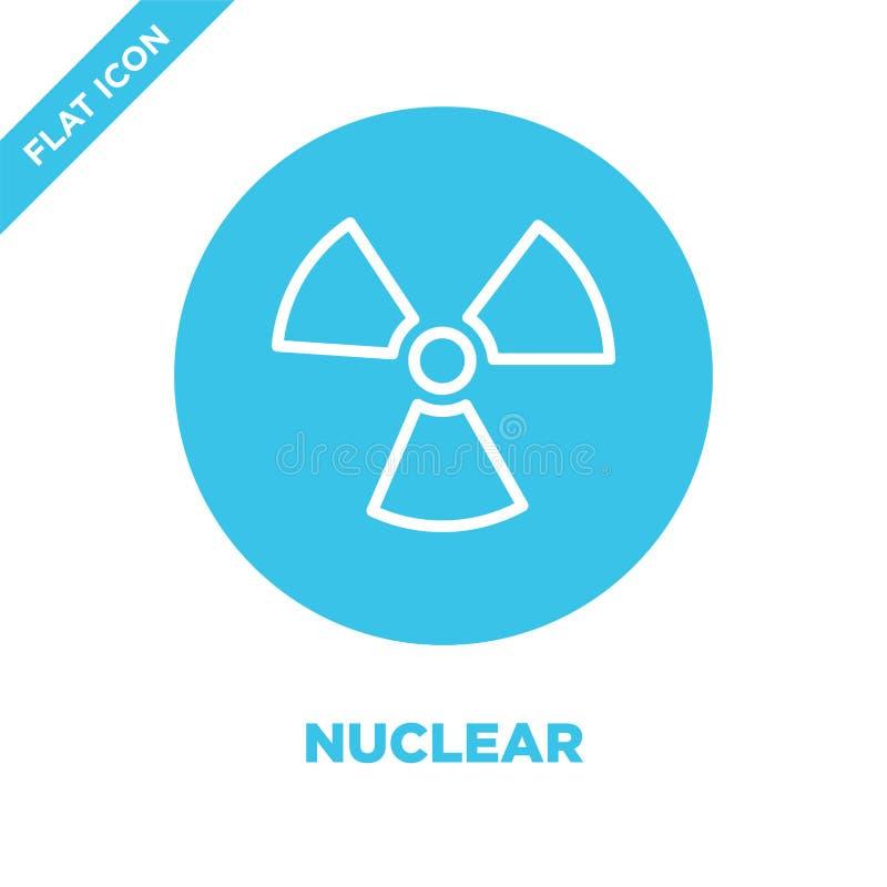 vecteur nucléaire d'icône de la collection militaire Ligne mince illustration nucléaire de vecteur d'icône d'ensemble Symbole lin illustration de vecteur