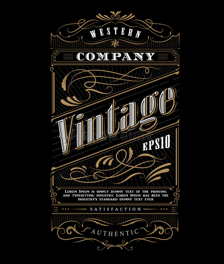 Vecteur occidental de frontière de label de cadre de typographie de vintage illustration de vecteur