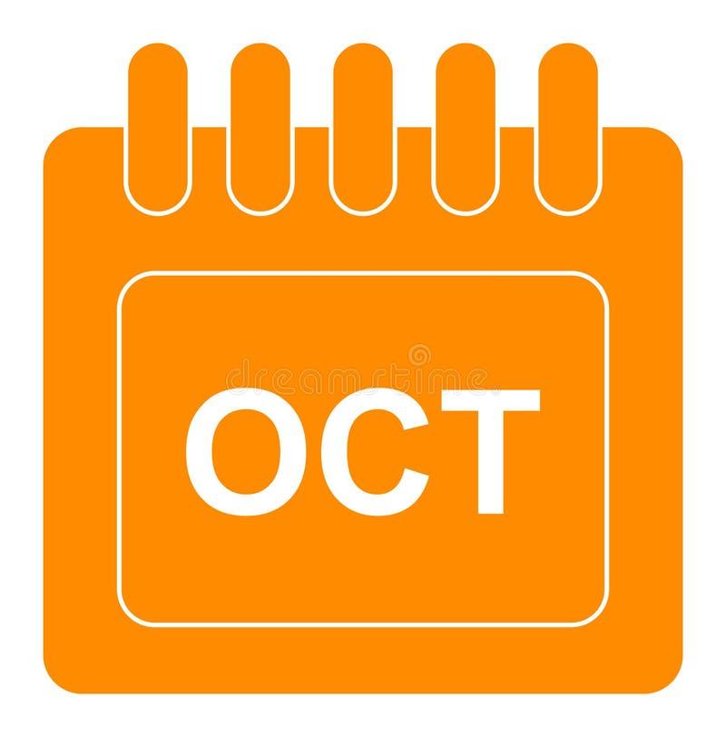 Vecteur octobre sur l'icône mensuelle d'orange de calendrier illustration de vecteur