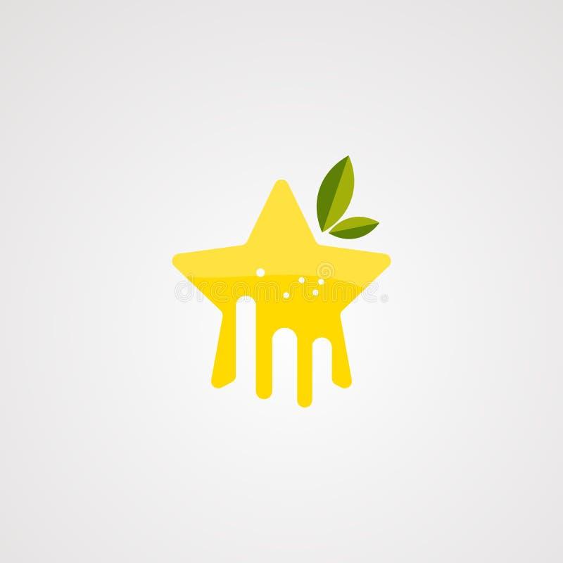 Vecteur orange de logo d'étoile avec du jus frais sur l'éclaboussure, l'élément, l'icône, et le calibre pour la société illustration stock