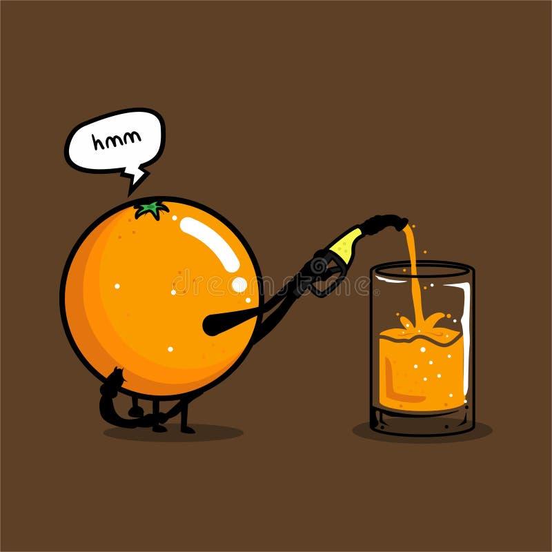 Vecteur orange mignon drôle de jus illustration de vecteur