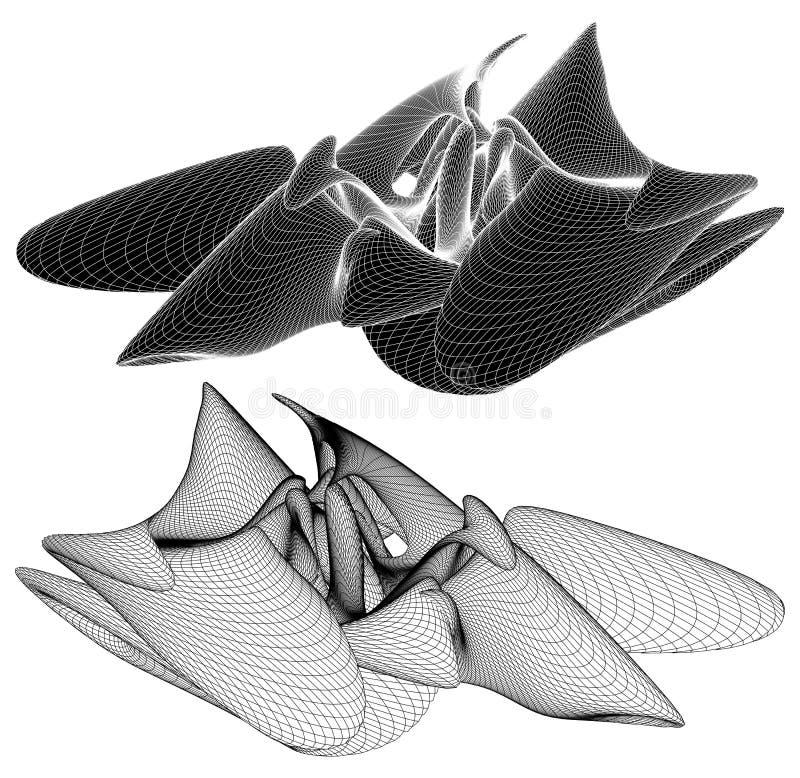 Vecteur organique incurvé géométrique de forme de Wireframe illustration de vecteur