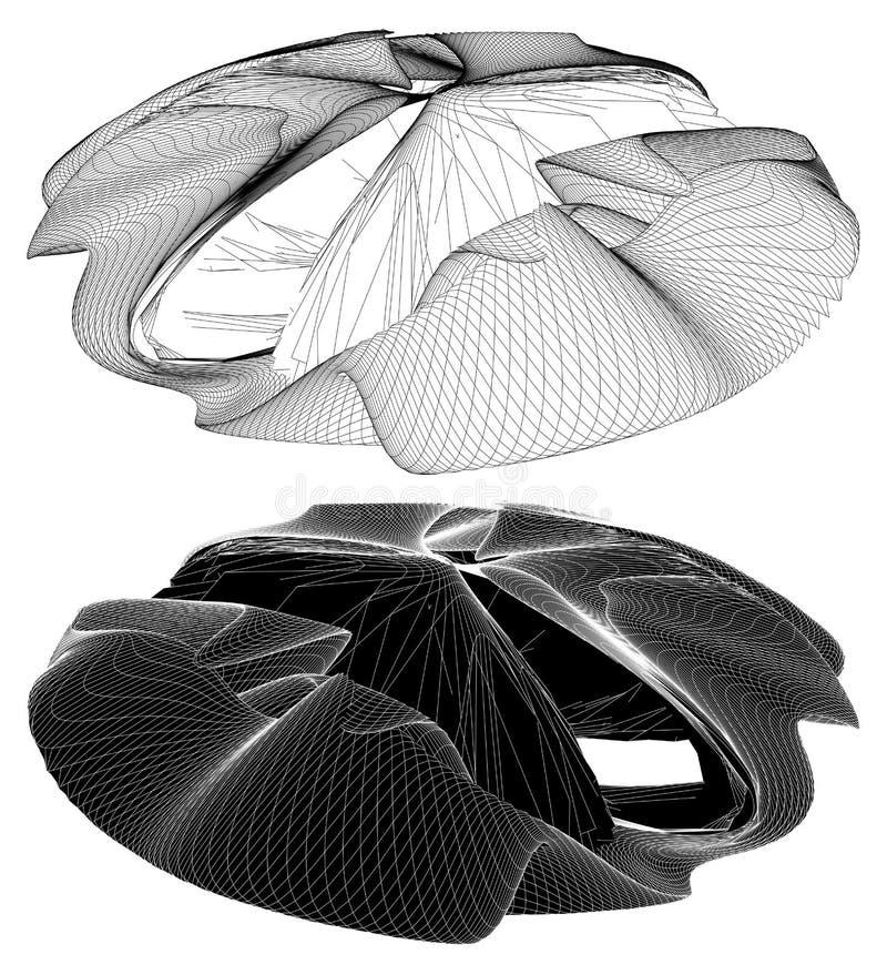 Vecteur organique incurvé géométrique de forme de Wireframe illustration stock