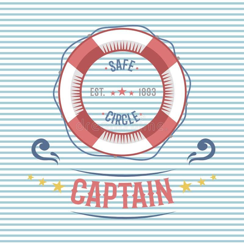 Vecteur orienté de label de navigation nautique et marine de bouée de sauvetage illustration de vecteur