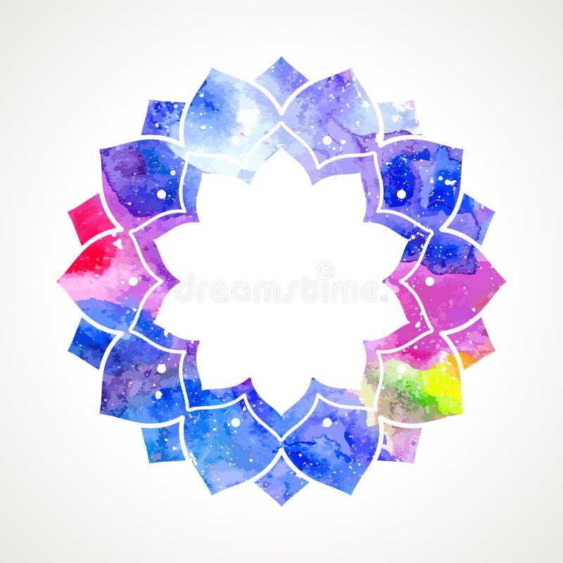 Vecteur oriental de cadre de fleur d'aquarelle illustration de vecteur