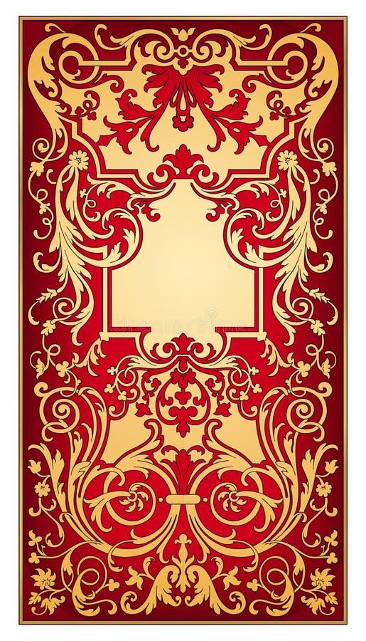 vecteur oriental de rouge d'ornement d'or illustration stock