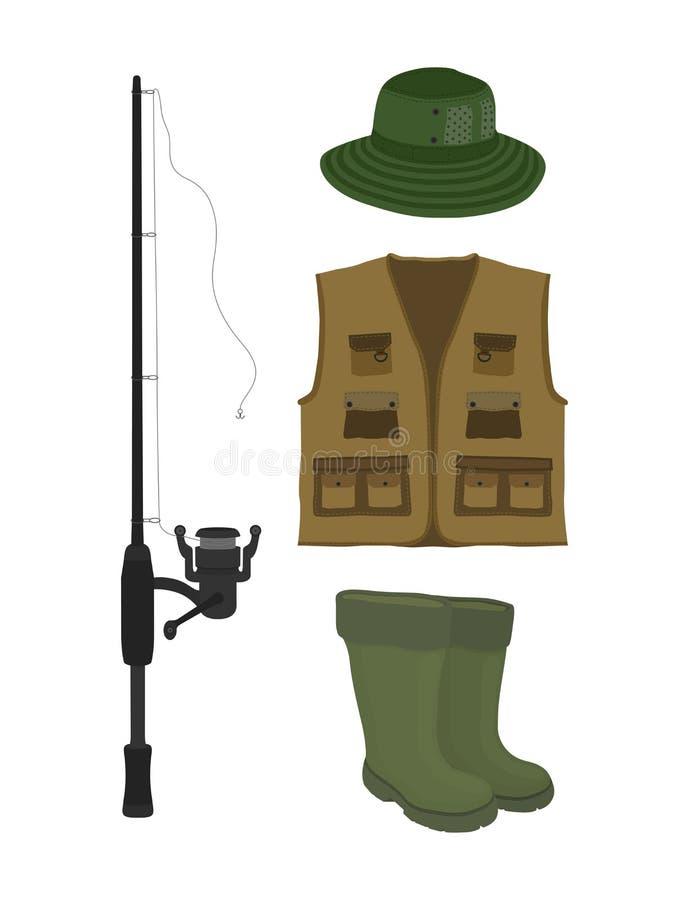 Vecteur pêchant la collection Poisson-tige, bottes, échassiers, gilet et chapeau illustration libre de droits