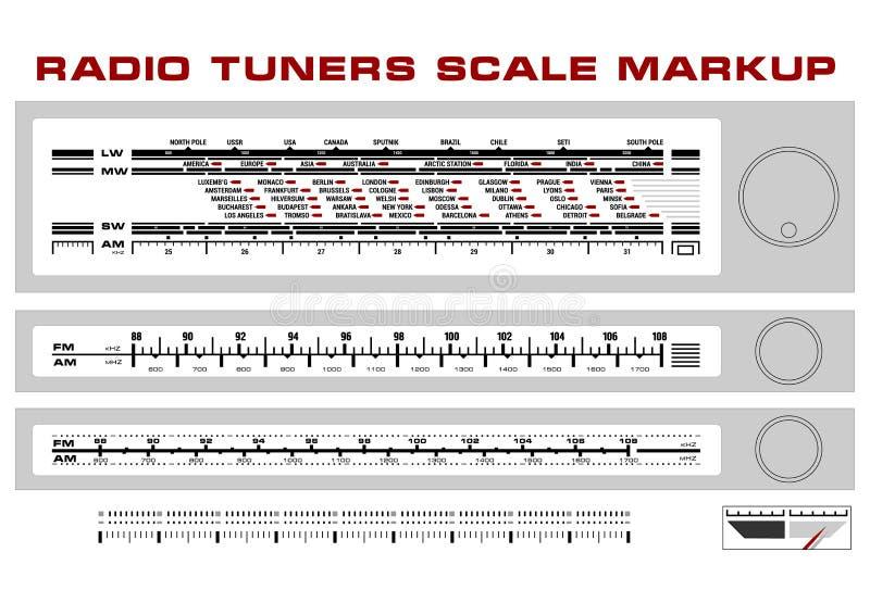 Vecteur par radio de majoration de tableau de bord d'échelle de tuner illustration stock