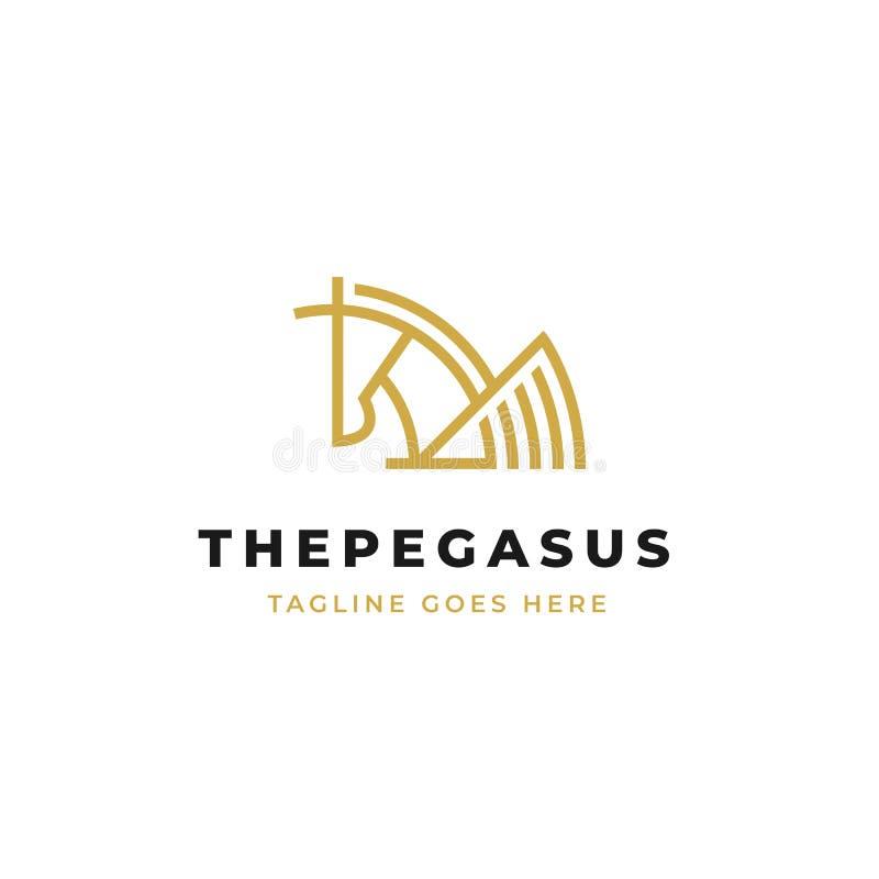 Vecteur Pegasus de conception de logo de schéma cheval simple avec les ailes et l'icône d'ensemble de klaxon illustration de vecteur