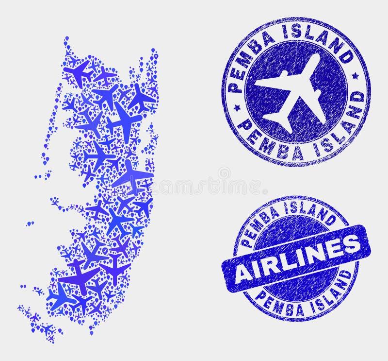 Vecteur Pemba Island Map de mosaïque d'avion et joints grunges illustration de vecteur