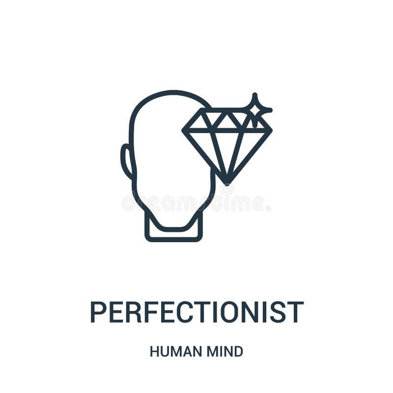 vecteur perfectionniste d'icône de collection d'esprit humain Ligne mince illustration perfectionniste de vecteur d'icône d'ensem illustration stock