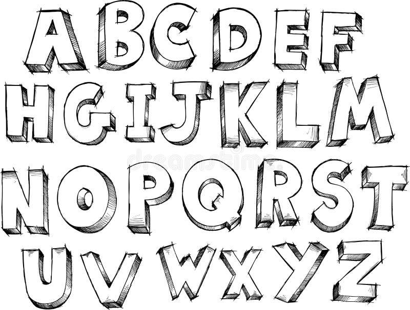 Vecteur peu précis d'alphabet illustration libre de droits