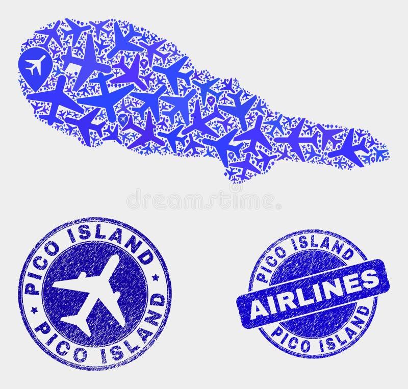 Vecteur Pico Island Map de mosaïque d'avion et joints grunges illustration libre de droits