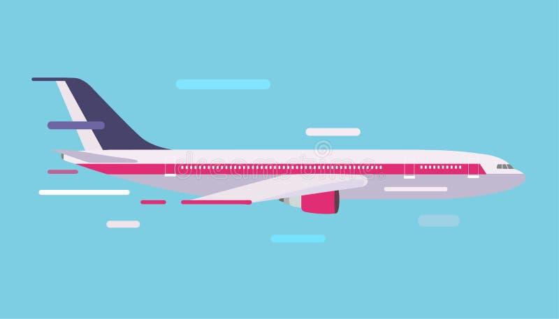 Vecteur plat d'air de passager de voyage d'aviation civile illustration libre de droits