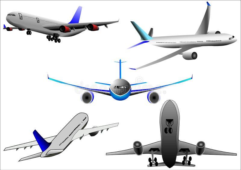 Vecteur plat d'Airbus d'avion au-dessus du fond blanc images stock