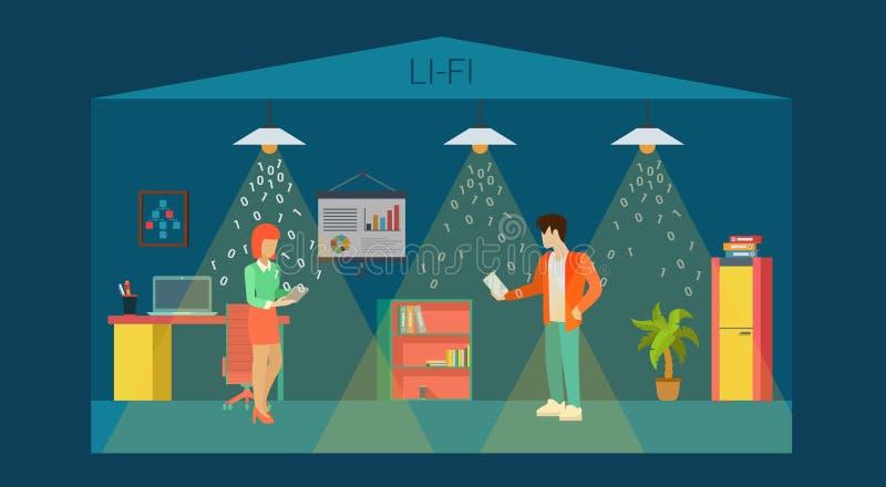 Vecteur plat 3d de pièce intérieure optique de bureau de la technologie Li-fi illustration de vecteur