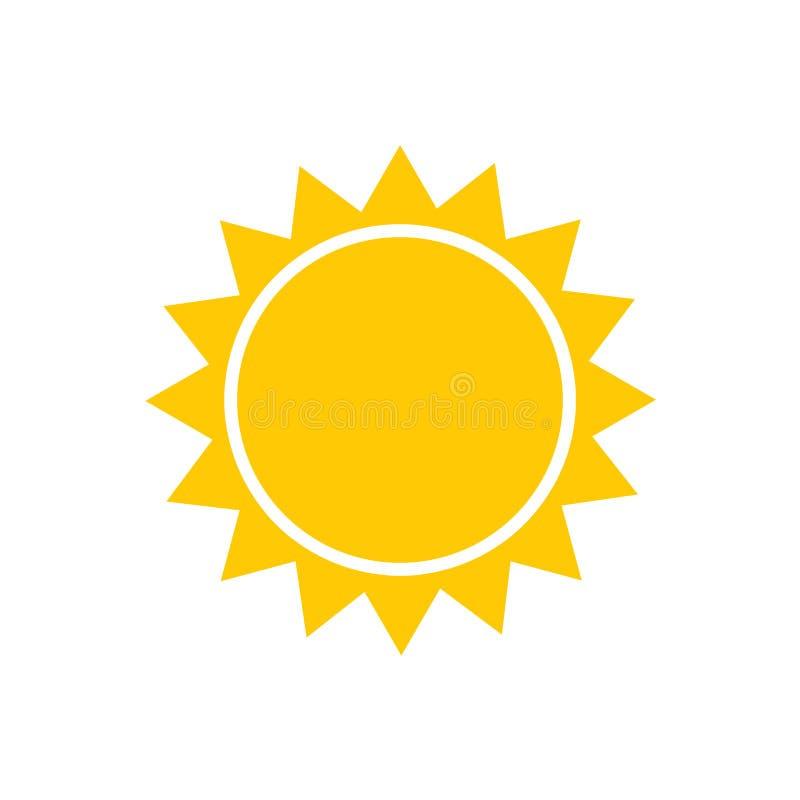 Vecteur plat d'icône de Sun Pictogramme d'été Symbole de lumière du soleil pour la conception de site Web, bouton de Web, illustr illustration de vecteur