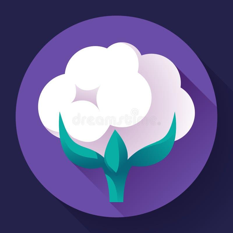 Vecteur plat d'icône de coton illustration de vecteur