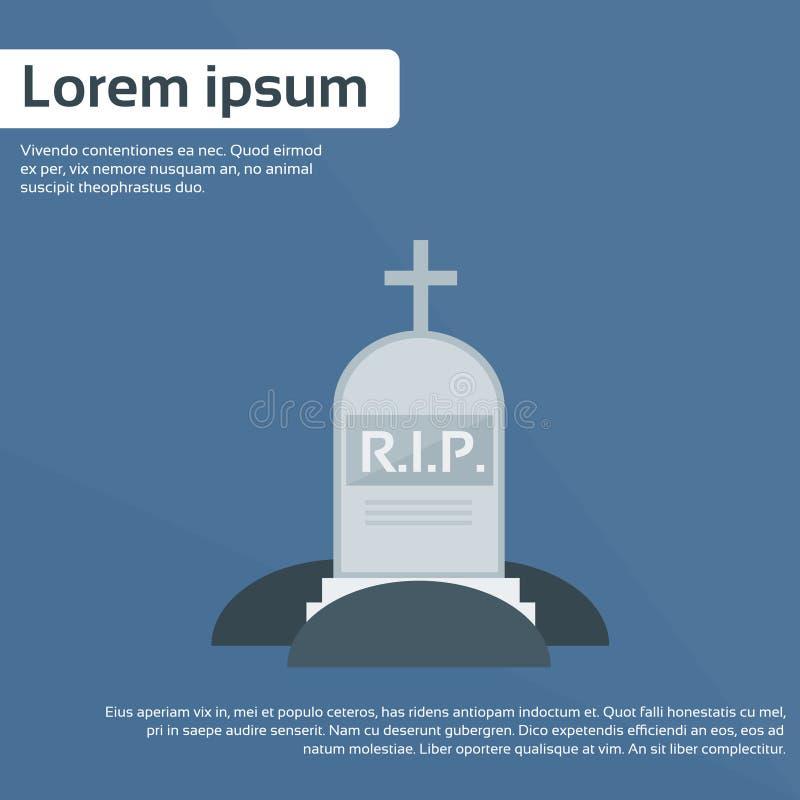 Vecteur plat d'icône de tombe de pierre grave de DÉCHIRURE illustration stock